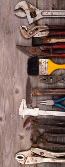 Vintage construction tools background